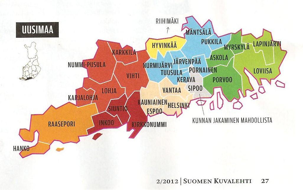 Uusimaa kunnat kartta